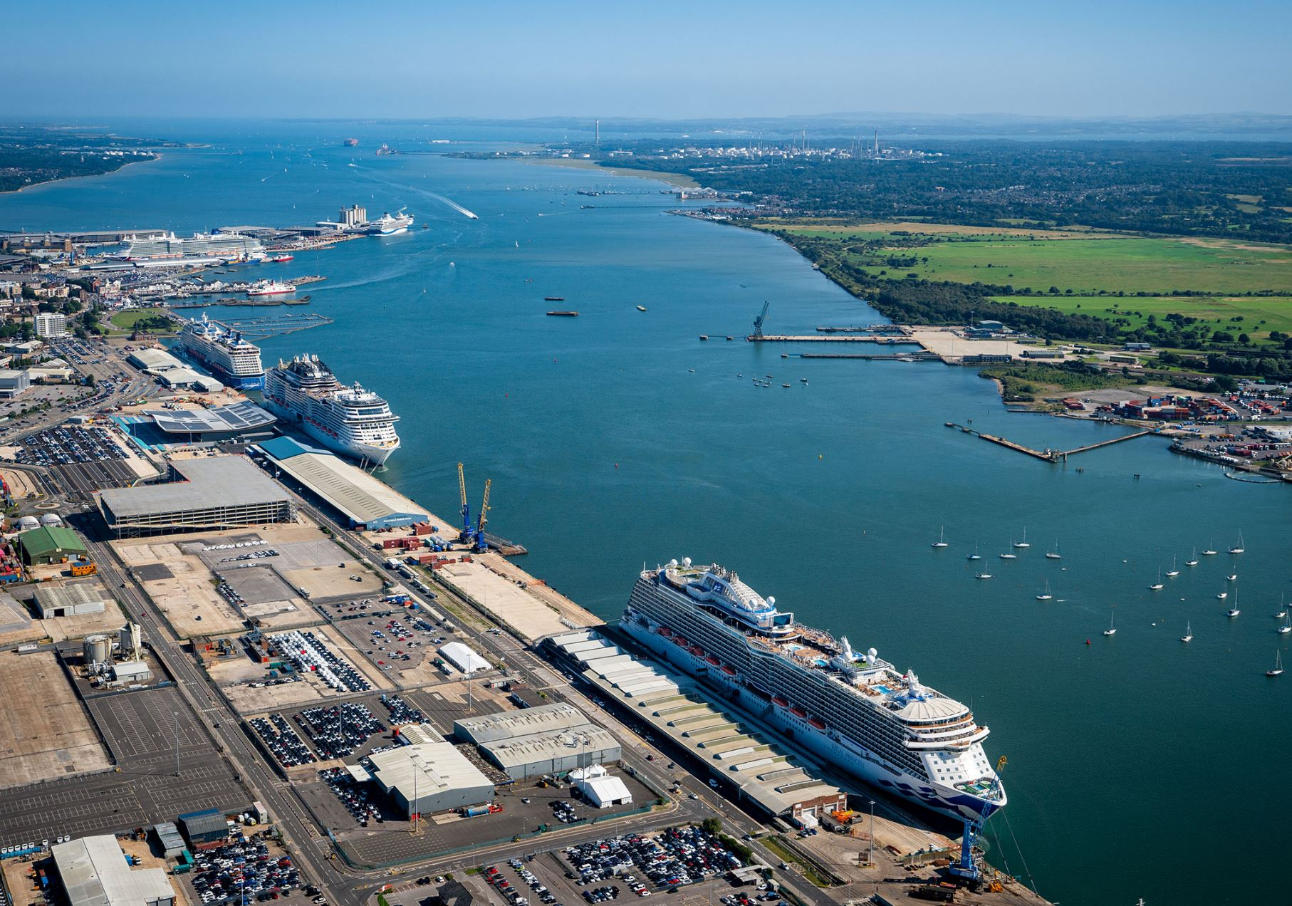 View from Southampton's western docks as five ships welcome passengers - ABP  (August 2021)